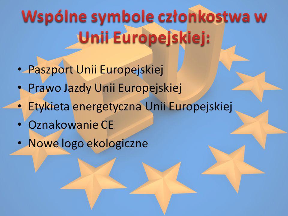 Wspólne symbole członkostwa w Unii Europejskiej: