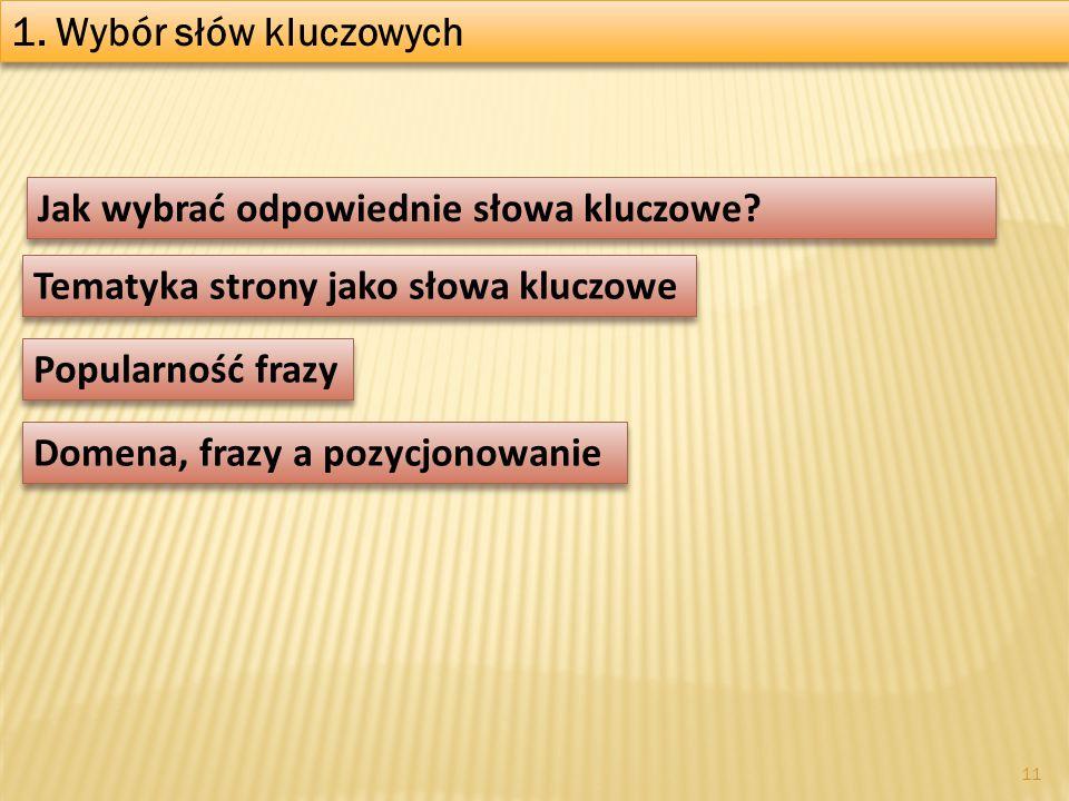 1. Wybór słów kluczowych Jak wybrać odpowiednie słowa kluczowe Tematyka strony jako słowa kluczowe.