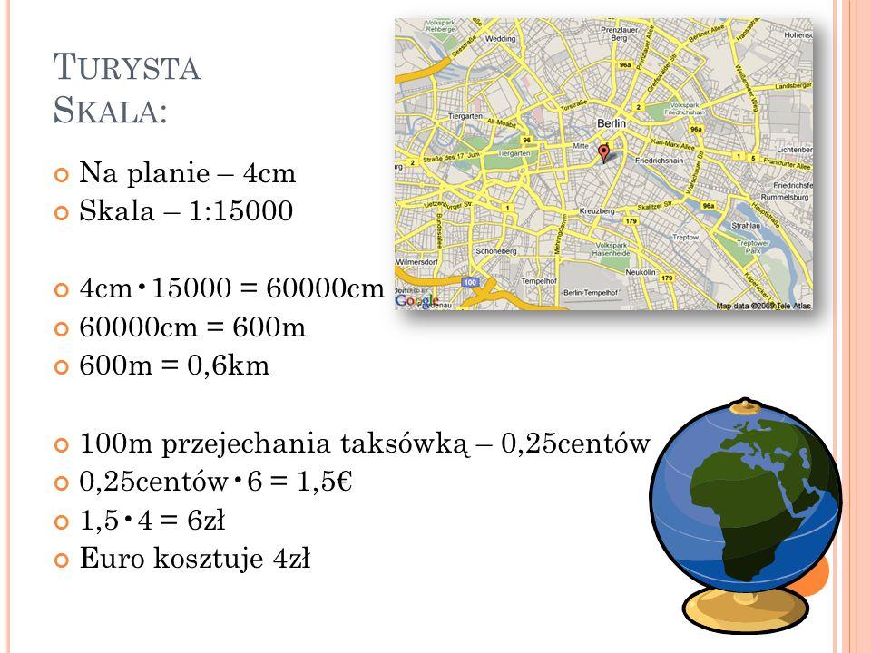 Turysta Skala: Na planie – 4cm Skala – 1:15000 4cm•15000 = 60000cm