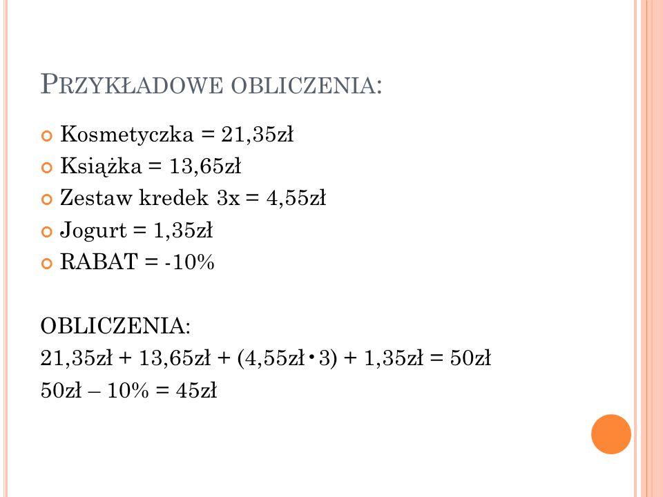 Przykładowe obliczenia: