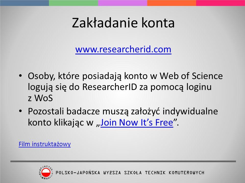 Zakładanie konta www.researcherid.com