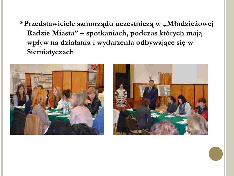 """*Przedstawiciele samorządu uczestniczą w """"Młodzieżowej Radzie Miasta – spotkaniach, podczas których mają wpływ na działania i wydarzenia odbywające się w Siemiatyczach"""