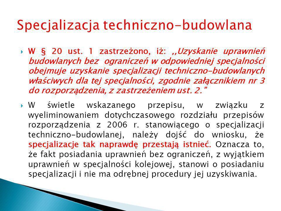 Specjalizacja techniczno-budowlana