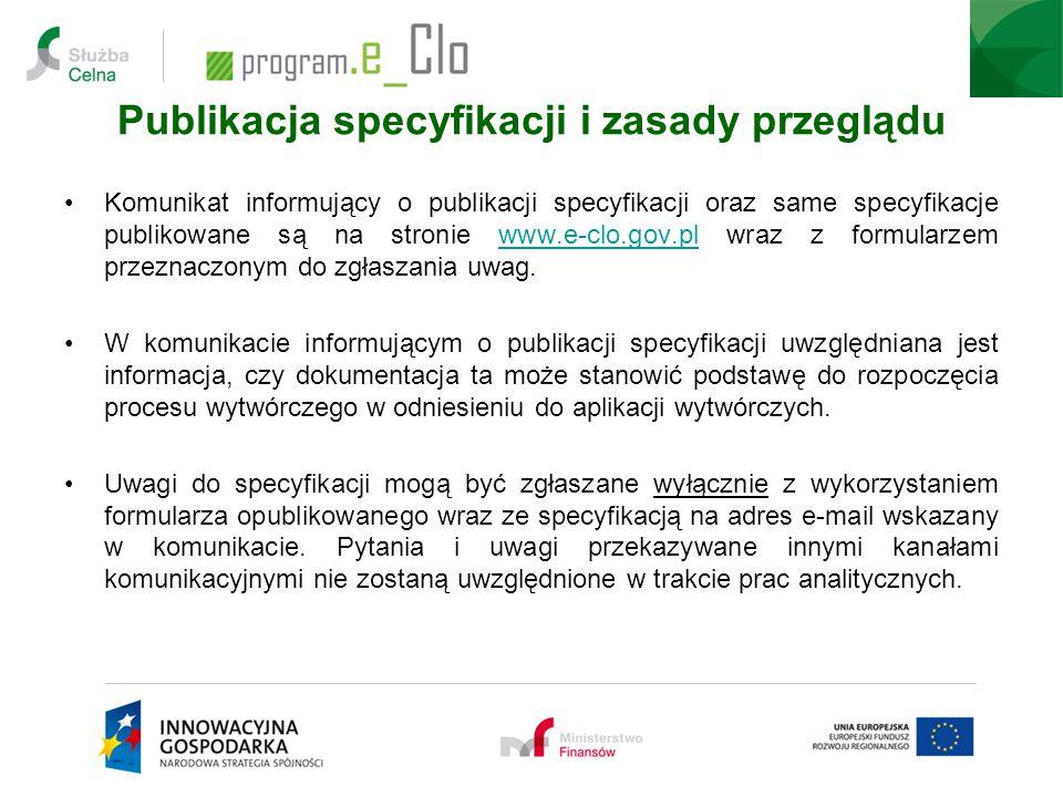 Publikacja specyfikacji i zasady przeglądu