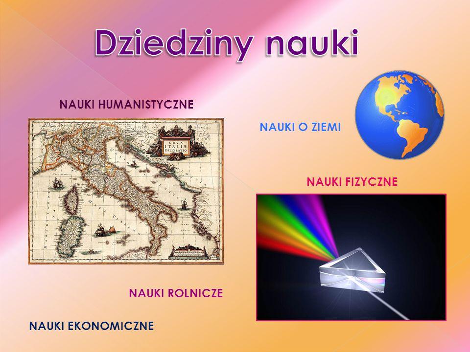 Dziedziny nauki NAUKI HUMANISTYCZNE NAUKI O ZIEMI NAUKI FIZYCZNE