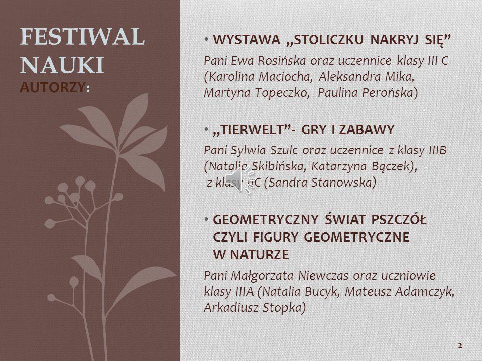 """Festiwal Nauki AUTORZY: WYSTAWA """"STOLICZKU NAKRYJ SIĘ"""