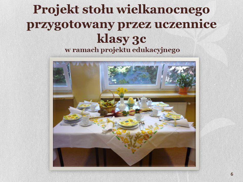Projekt stołu wielkanocnego przygotowany przez uczennice klasy 3c w ramach projektu edukacyjnego