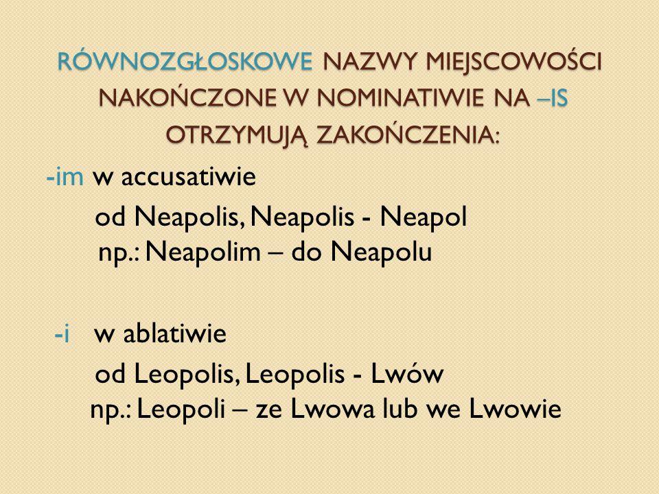 Równozgłoskowe nazwy miejscowości nakończone w nominatiwie na –is otrzymują zakończenia: