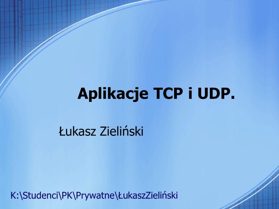 Aplikacje TCP i UDP. Łukasz Zieliński
