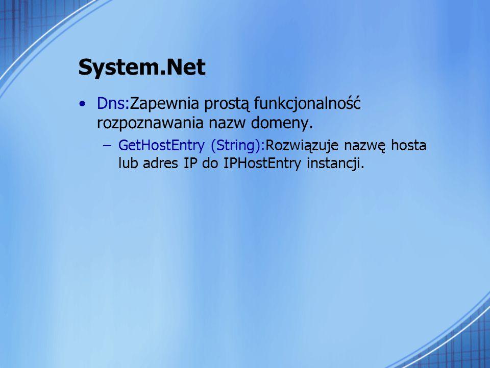 System.Net Dns:Zapewnia prostą funkcjonalność rozpoznawania nazw domeny.