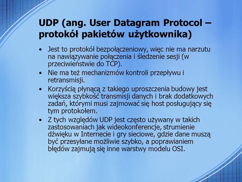 UDP (ang. User Datagram Protocol – protokół pakietów użytkownika)