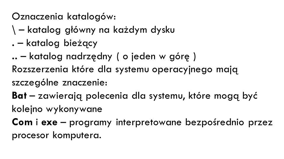 Oznaczenia katalogów: