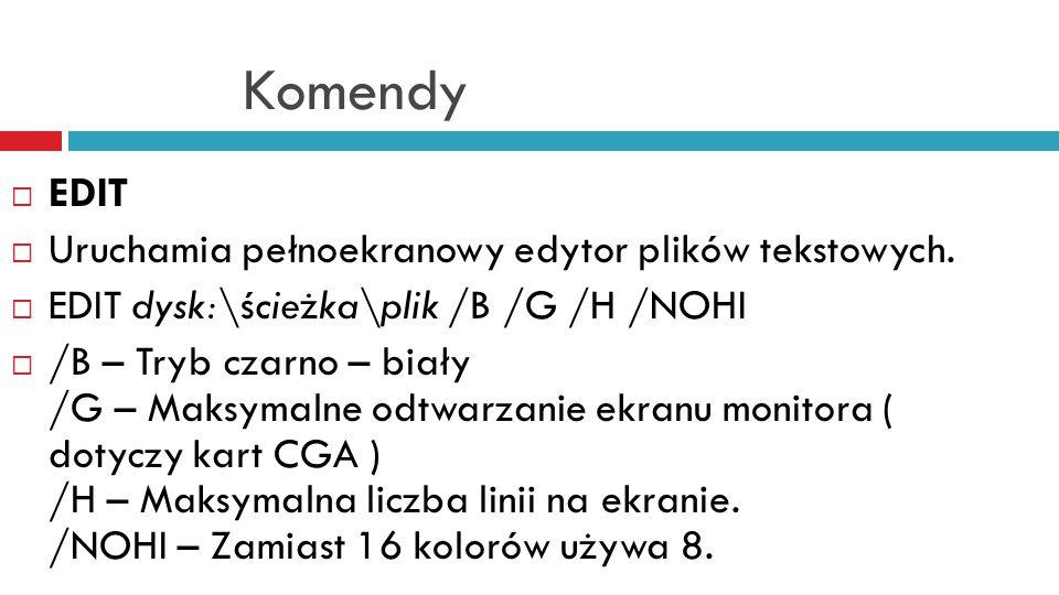 Komendy EDIT Uruchamia pełnoekranowy edytor plików tekstowych.