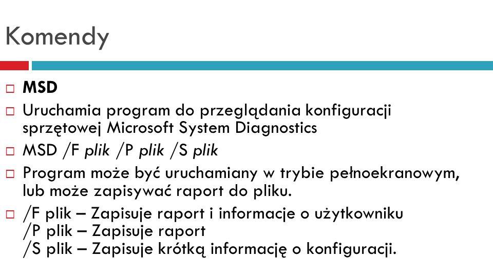 Komendy MSD. Uruchamia program do przeglądania konfiguracji sprzętowej Microsoft System Diagnostics.