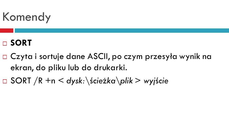 Komendy SORT. Czyta i sortuje dane ASCII, po czym przesyła wynik na ekran, do pliku lub do drukarki.