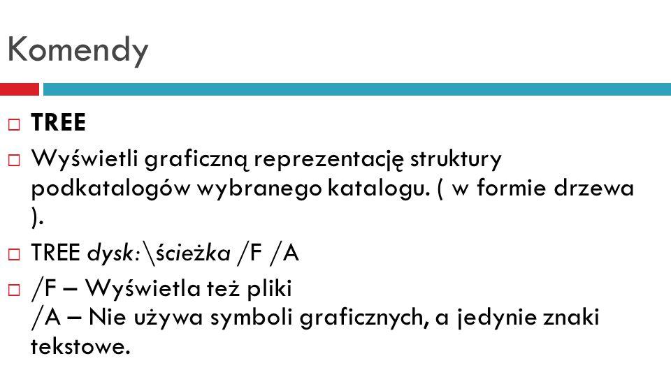 Komendy TREE. Wyświetli graficzną reprezentację struktury podkatalogów wybranego katalogu. ( w formie drzewa ).