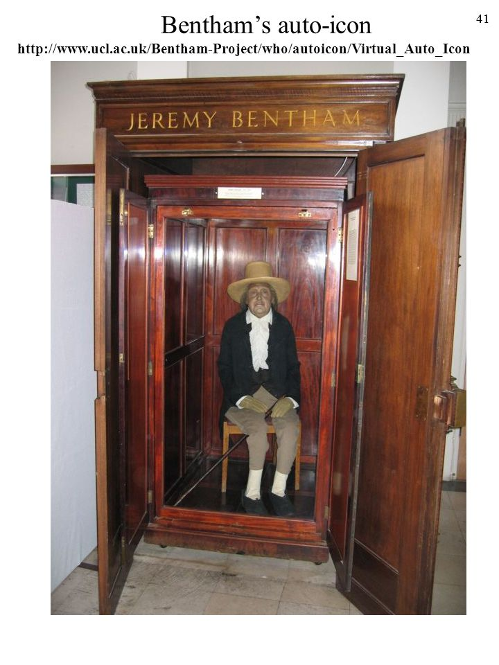 Bentham's auto-icon http://www.ucl.ac.uk/Bentham-Project/who/autoicon/Virtual_Auto_Icon 41