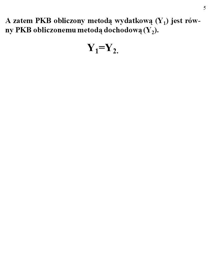 A zatem PKB obliczony metodą wydatkową (Y1) jest rów-ny PKB obliczonemu metodą dochodową (Y2).