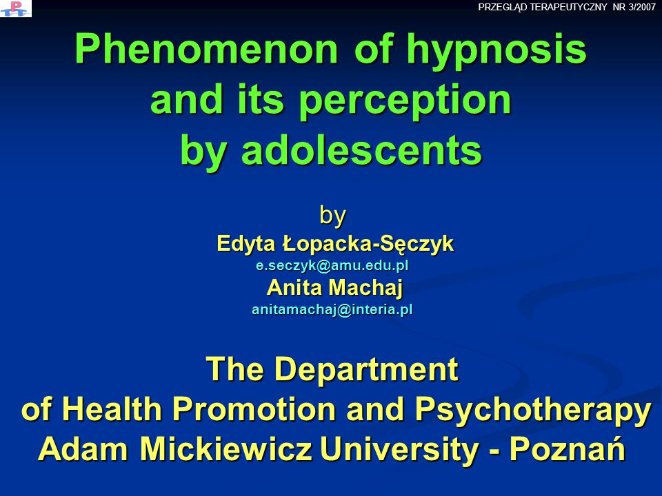 Phenomenon of hypnosis and its perception by adolescents