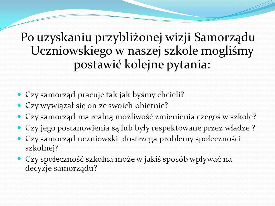 Po uzyskaniu przybliżonej wizji Samorządu Uczniowskiego w naszej szkole mogliśmy postawić kolejne pytania: