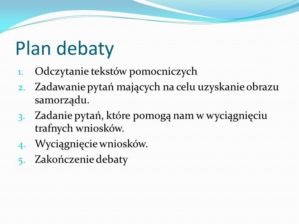 Plan debaty Odczytanie tekstów pomocniczych