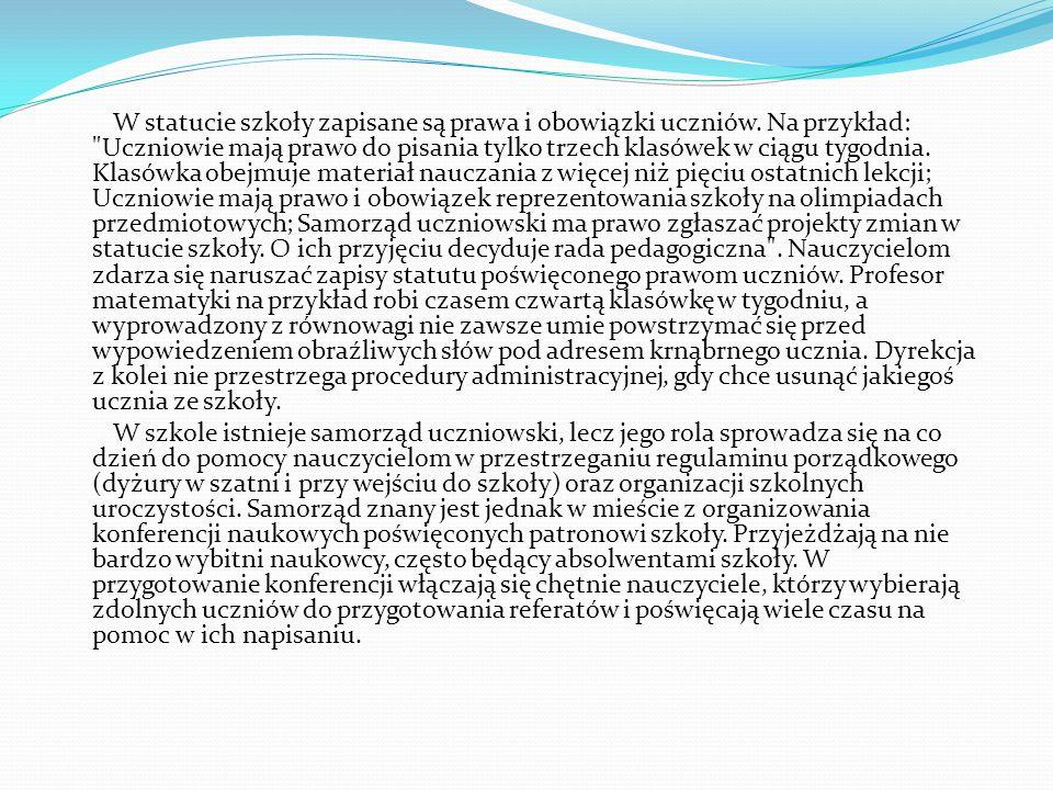W statucie szkoły zapisane są prawa i obowiązki uczniów