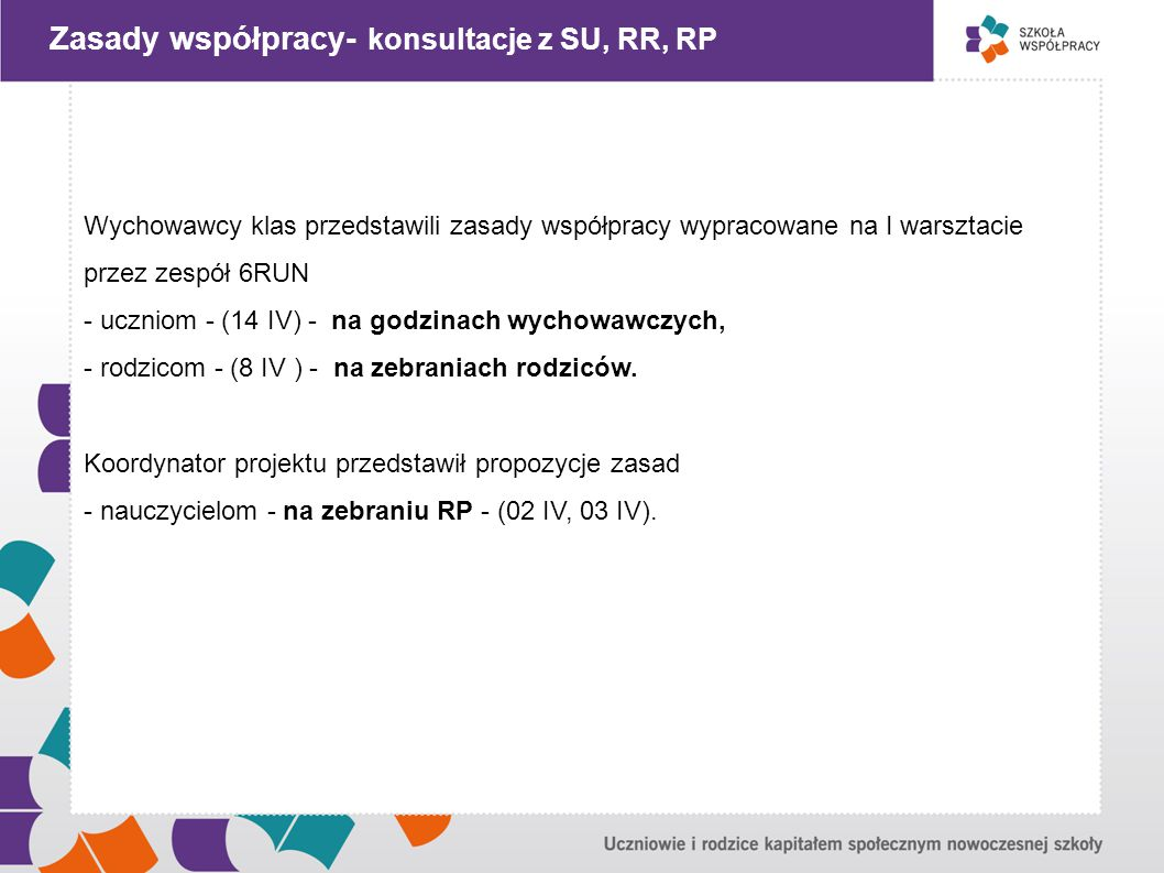 """"""" Zasady współpracy- konsultacje z SU, RR, RP"""