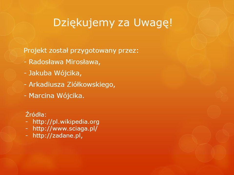 Dziękujemy za Uwagę! Projekt został przygotowany przez: - Radosława Mirosława, - Jakuba Wójcika, - Arkadiusza Ziółkowskiego, - Marcina Wójcika.