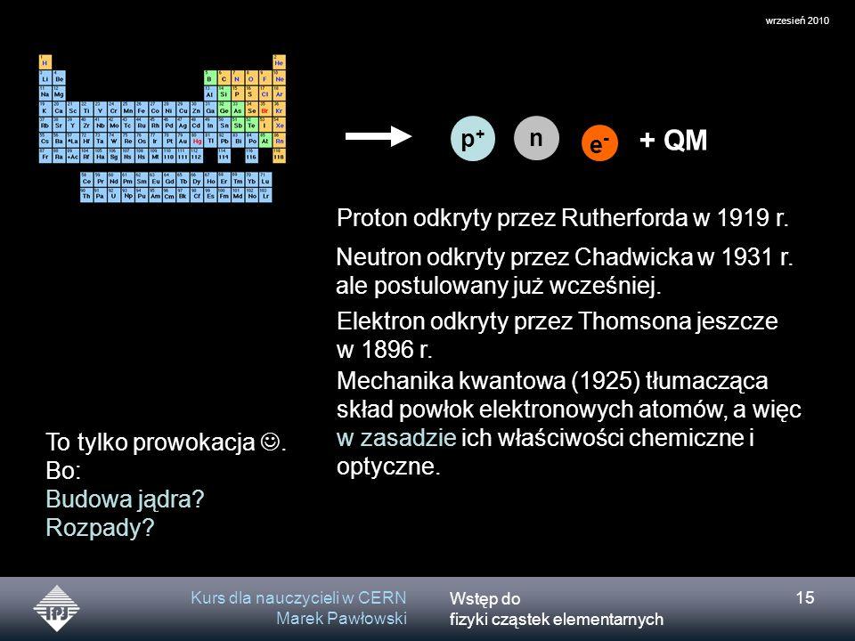 + QM p+ n e- Proton odkryty przez Rutherforda w 1919 r.