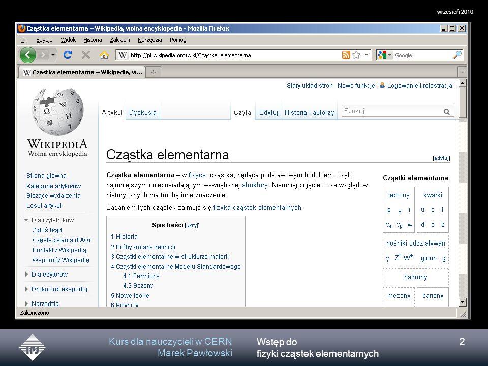 Kurs dla nauczycieli w CERN Marek Pawłowski
