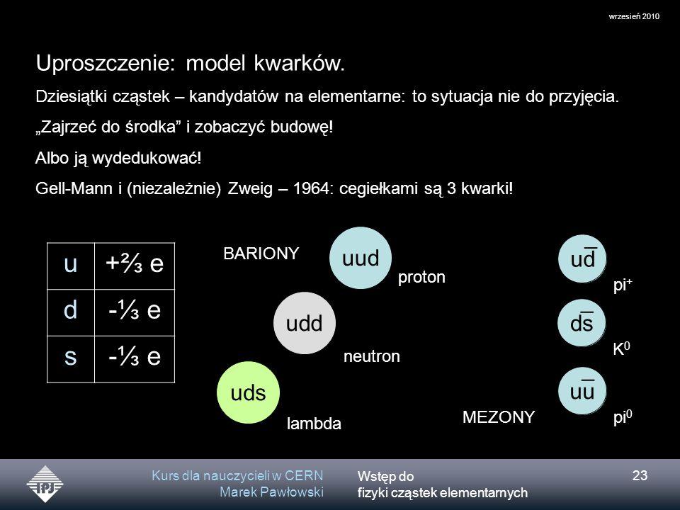 u +⅔ e d -⅓ e s Uproszczenie: model kwarków. uud ¯ ud udd ¯ ds uds uu