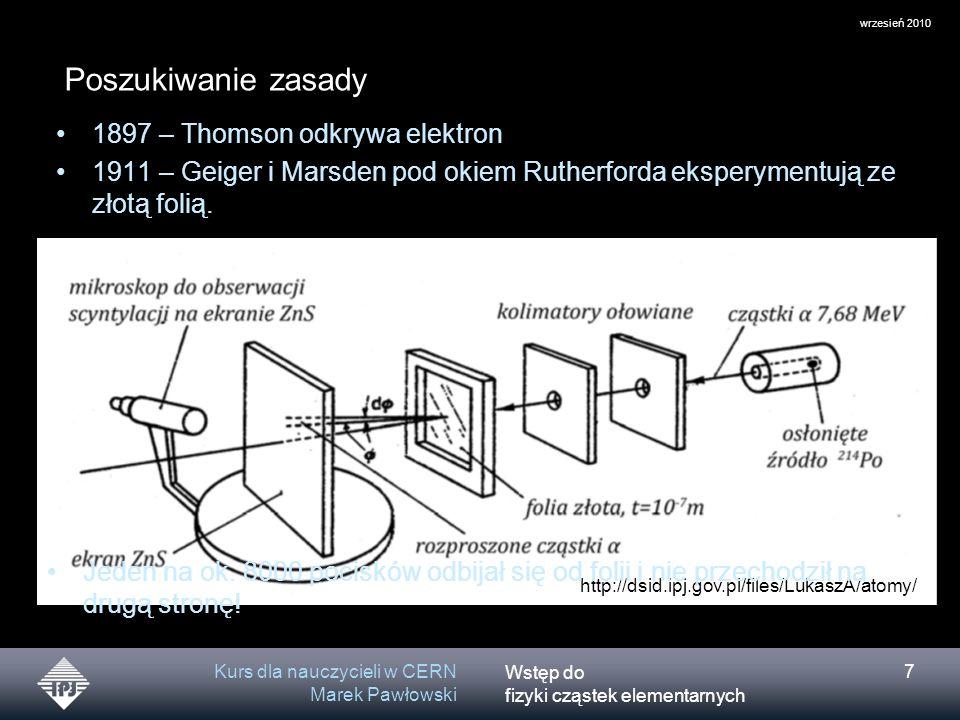 Poszukiwanie zasady 1897 – Thomson odkrywa elektron