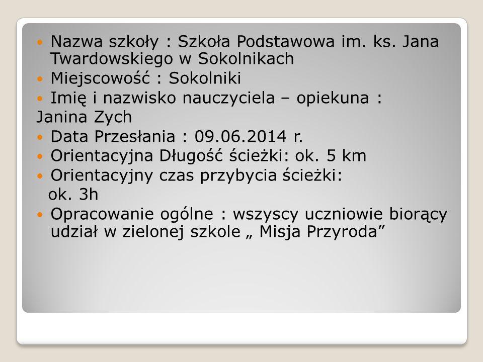 Nazwa szkoły : Szkoła Podstawowa im. ks