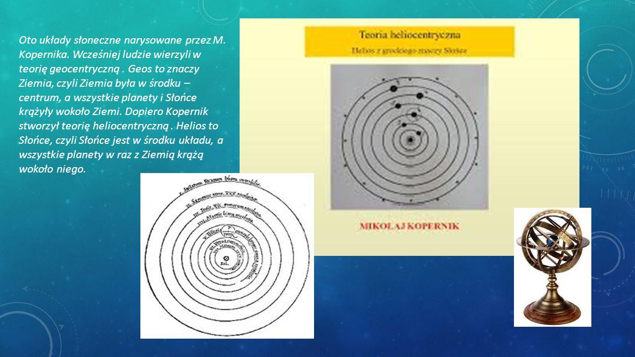 Oto układy słoneczne narysowane przez M. Kopernika