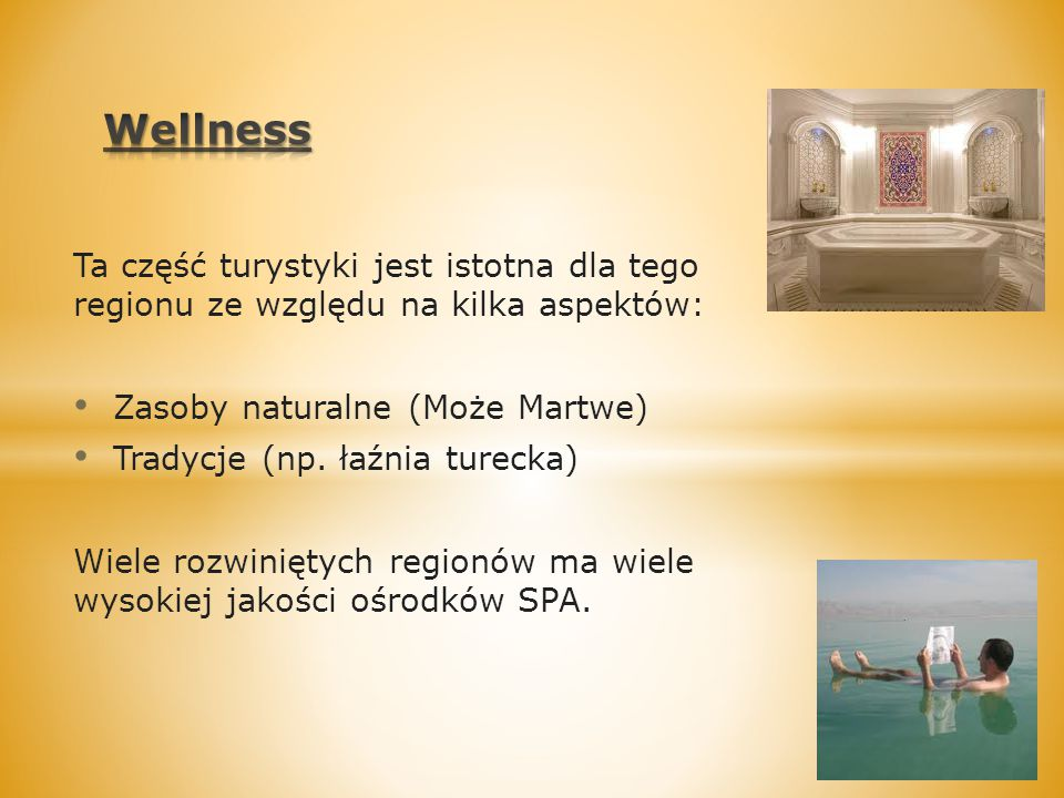 Wellness Ta część turystyki jest istotna dla tego regionu ze względu na kilka aspektów: Zasoby naturalne (Może Martwe)