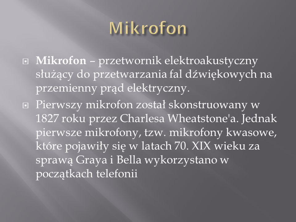 Mikrofon Mikrofon – przetwornik elektroakustyczny służący do przetwarzania fal dźwiękowych na przemienny prąd elektryczny.