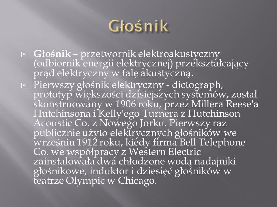 Głośnik Głośnik – przetwornik elektroakustyczny (odbiornik energii elektrycznej) przekształcający prąd elektryczny w falę akustyczną.