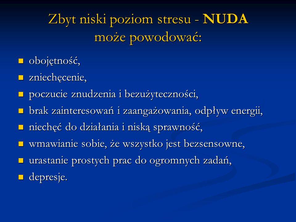Zbyt niski poziom stresu - NUDA może powodować: