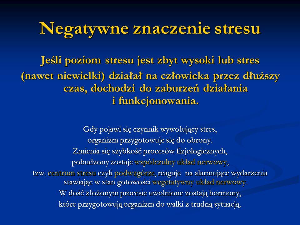 Negatywne znaczenie stresu
