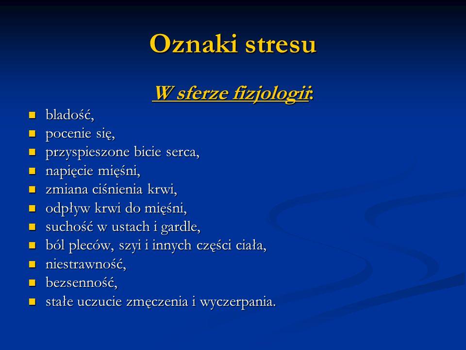 Oznaki stresu W sferze fizjologii: bladość, pocenie się,