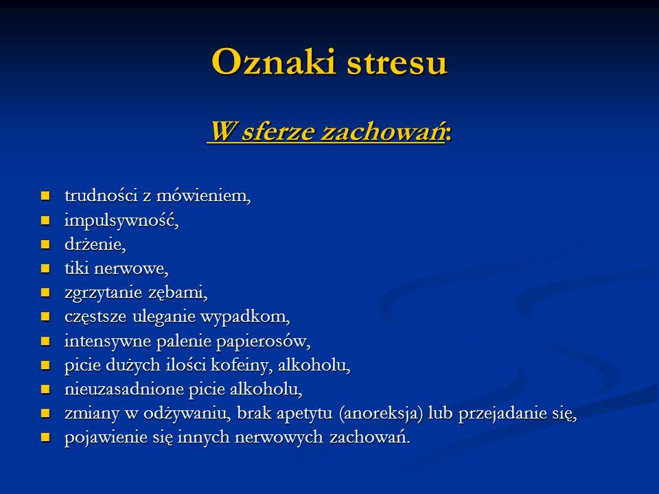 Oznaki stresu W sferze zachowań: trudności z mówieniem, impulsywność,