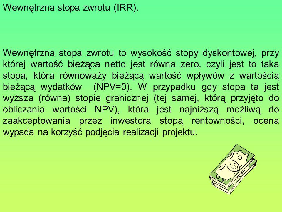 Wewnętrzna stopa zwrotu (IRR).