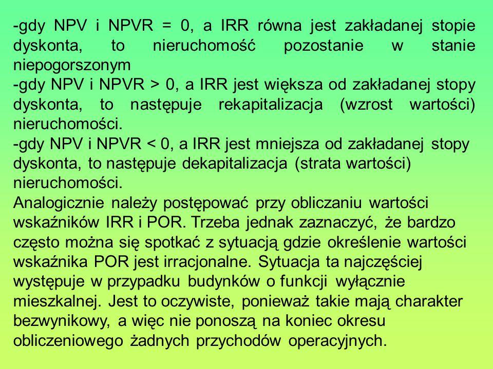 gdy NPV i NPVR = 0, a IRR równa jest zakładanej stopie dyskonta, to nieruchomość pozostanie w stanie niepogorszonym.