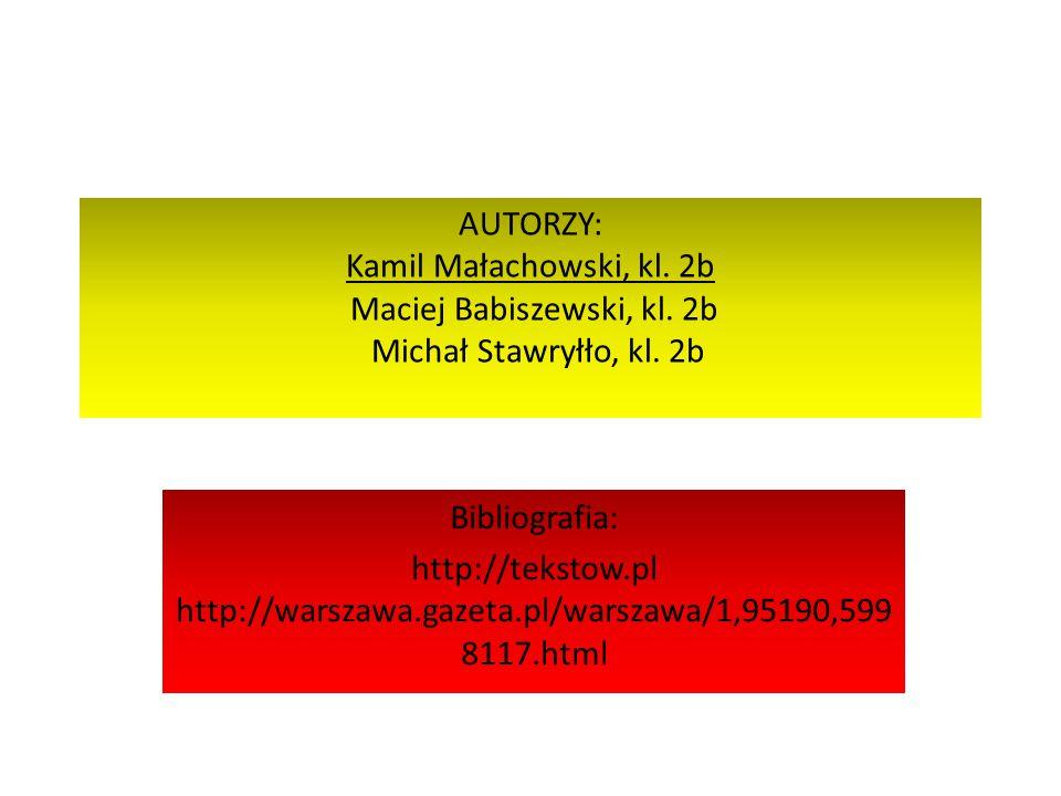 AUTORZY: Kamil Małachowski, kl. 2b Maciej Babiszewski, kl