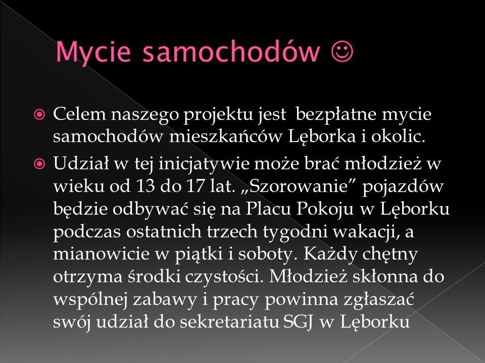 Mycie samochodów  Celem naszego projektu jest bezpłatne mycie samochodów mieszkańców Lęborka i okolic.