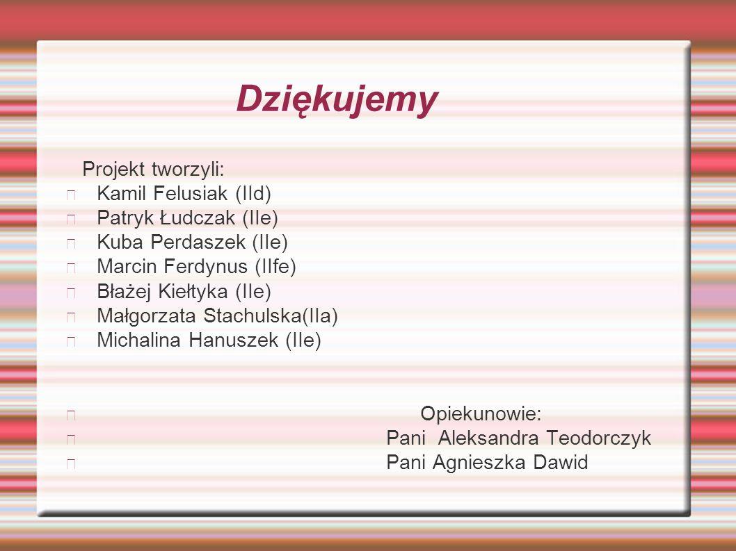 Dziękujemy Projekt tworzyli: Kamil Felusiak (IId) Patryk Łudczak (IIe)