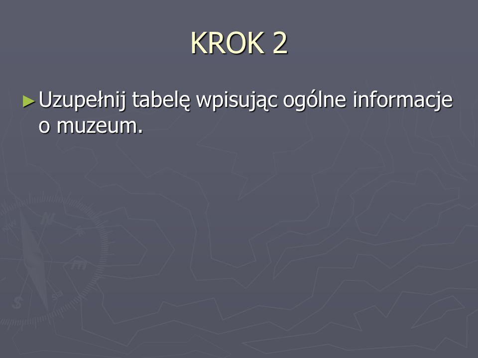 KROK 2 Uzupełnij tabelę wpisując ogólne informacje o muzeum.