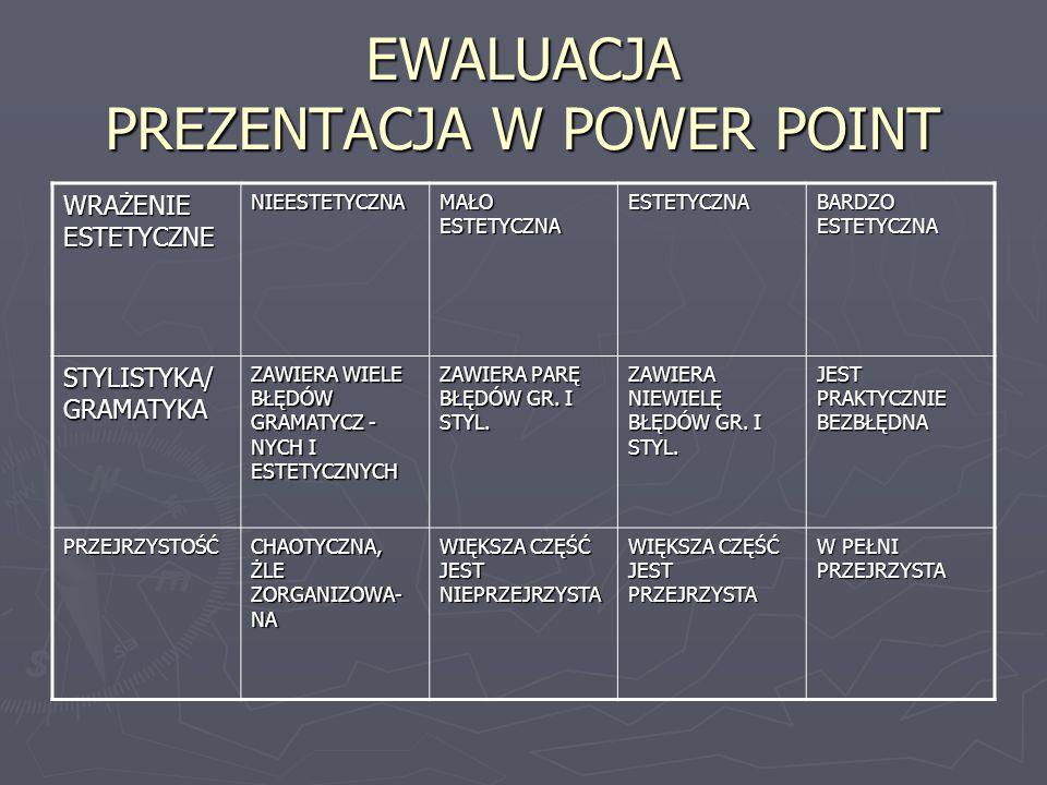 EWALUACJA PREZENTACJA W POWER POINT