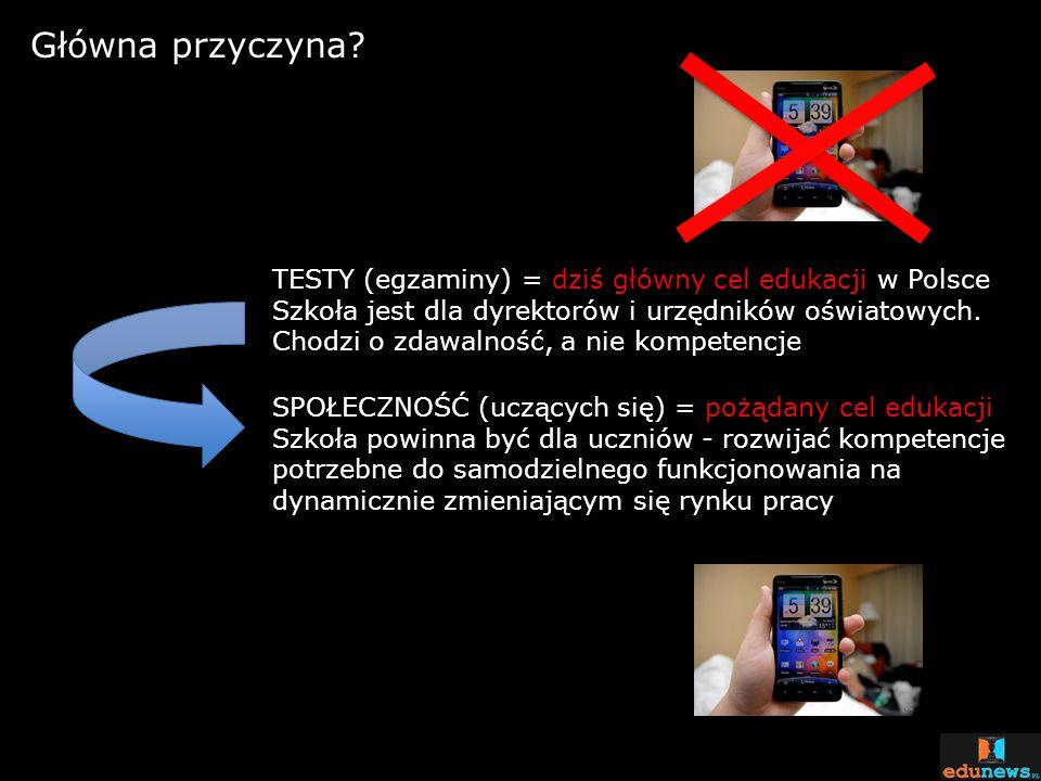 Główna przyczyna TESTY (egzaminy) = dziś główny cel edukacji w Polsce