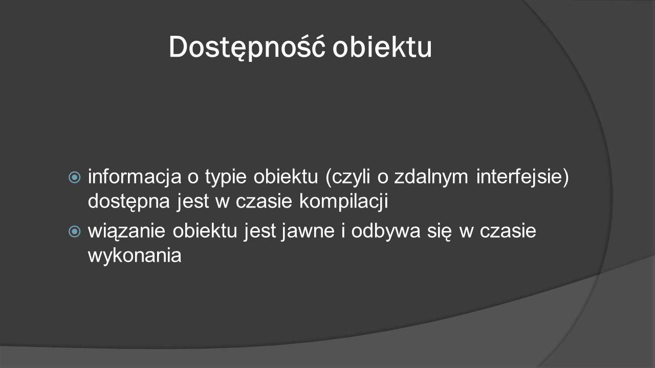 Dostępność obiektu informacja o typie obiektu (czyli o zdalnym interfejsie) dostępna jest w czasie kompilacji.